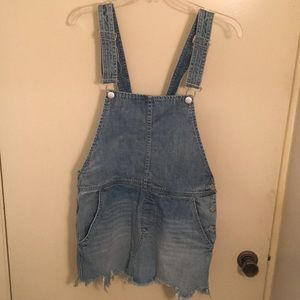Free People Denim Overall Skirt